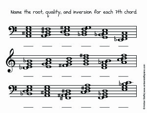 7th Chord Inversions – identifying in both clefs